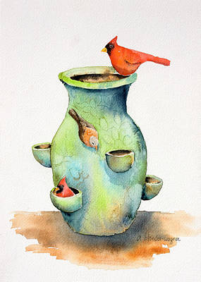 Pottery Vase And Birds Art Print by Arline Wagner