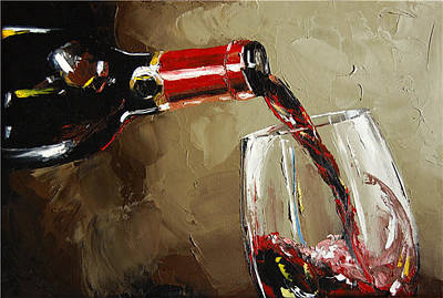Silver Oak Painting - Pouring Wine by Victor Bauer
