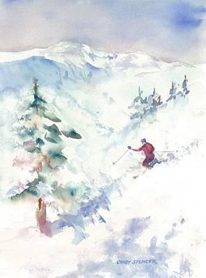 Alpine Skier Painting - Powder by Cindy Spencer