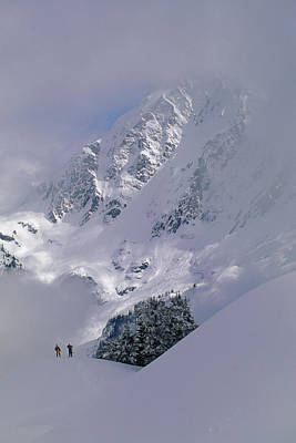 Out Of Bounds Photograph - Powder Skiers Head Out-of-bounds by Gordon Wiltsie