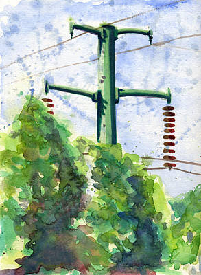 Painting - Power Line Pole by John D Benson