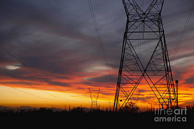 Power Lines At Sunset Art Print by Dave & Les Jacobs