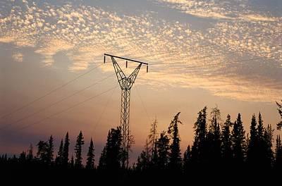 Wood Buffalo Photograph - Power Tower And Sunset, Wood Buffalo by Raymond Gehman