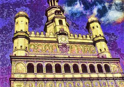 City Hall Mixed Media - Poznan City Hall by Mo T
