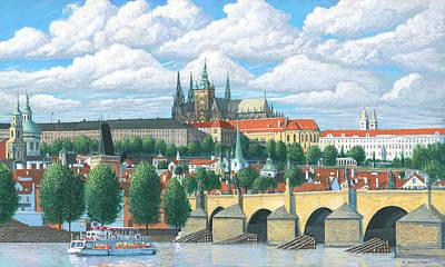Prague And The St. Charles Bridge Art Print by Patrick Funke