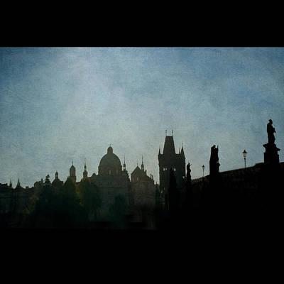 Prague Backlit Skyline With Charles Bridge Art Print by Alexandre Fundone