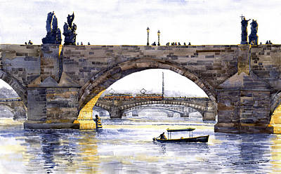 Charles Bridge Painting - Prague Bridges by Yuriy  Shevchuk