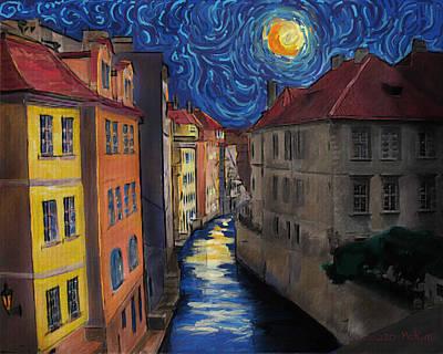 Prague By Moonlight Art Print by Jo-Anne Gazo-McKim