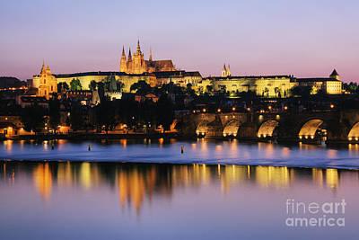 Prague Castle On The Riverbank Art Print by Jeremy Woodhouse