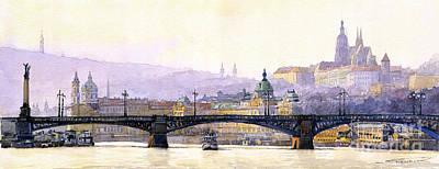 Prague Panorama Cechuv Bridge Variant Art Print by Yuriy  Shevchuk