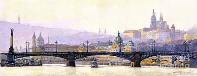 Europe Painting - Prague Panorama Cechuv Bridge Variant by Yuriy  Shevchuk
