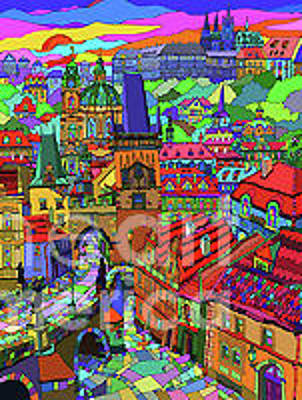 Mixed Media - Prague Panorama With Charles Bridge by Yuriy  Shevchuk