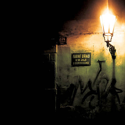 Prague Street Light Art Print by Chris Giles