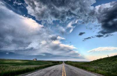 Country Lanes Digital Art - Prairie Road And School House by Mark Duffy