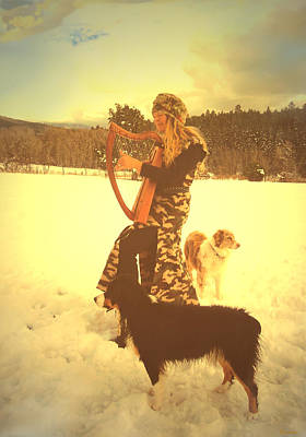 Dogs In Snow Digital Art - Praise Him With The Harp And All Ye Shepherd Dogs by Anastasia Savage Ealy