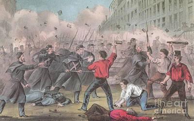Pratt Street Riot, 1861 Art Print by Photo Researchers