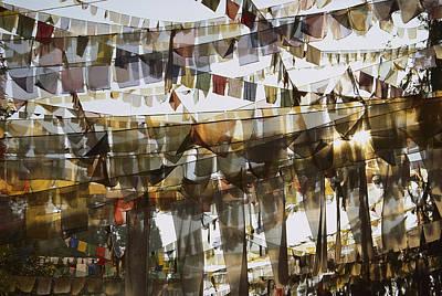 Photograph - Prayer Flags At Dawn, Ganesh Top by Colin Monteath