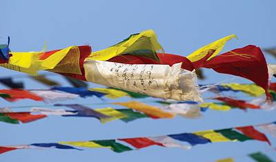 Waving Flag Photograph - Prayer Flags In The Wind, Nepal by Philippe Widling