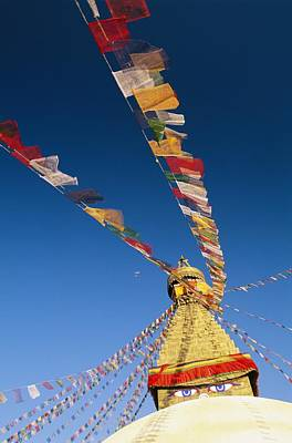Religious Characters And Scenes Photograph - Prayer Flags Wave In The Breeze by Michael Melford