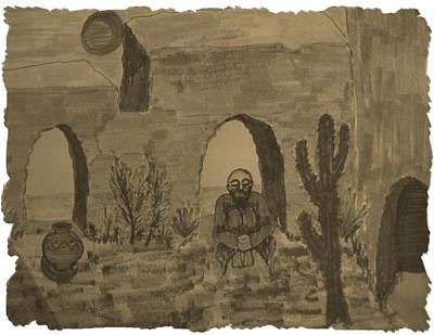 Painting - Prayer In The Desert by Judy Via-Wolff