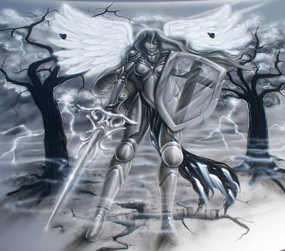 Airbrush Painting - Prayer Warrior by Mike Royal