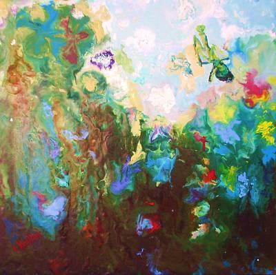 Mixed Media - Praying Iris 2 Encaustic by Lisa Kramer