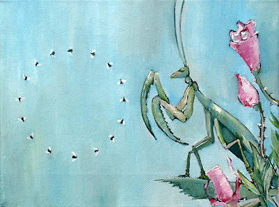 Praying Mantis And Flies In Circle Art Print by Fabrizio Cassetta
