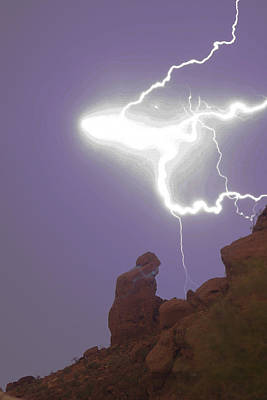 Praying Monk Lightning Halo Monsoon Thunderstorm Photography Art Print by James BO  Insogna