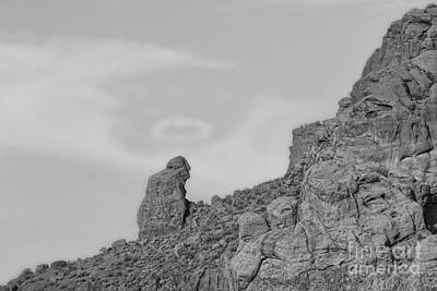 Photograph - Praying Monk With Halo Camelback Mountain Bw by James BO Insogna
