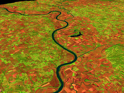 Pre-flood Missouri River Art Print by Nasagoddard Space Flight Center