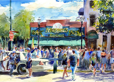 Baseball Scene Painting - Pre Game Warm Up Murphys Bleachers by Gordon France