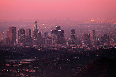 Predawn Light On Downtown Los Angeles. Art Print by Eric A Norris