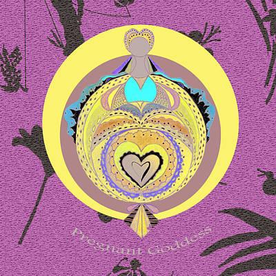 Wall Art - Digital Art - Pregnant Goddess Yellow by Lori Kirstein