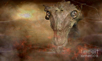 Phantasy Digital Art - Prehistoric Creature by Jan Willem Van Swigchem