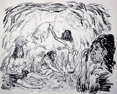 Primitive Drawing - Prehistoric Family by Bill Joseph  Markowski