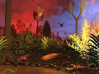 Prehistoric Forest Fire, Artwork Art Print by Walter Myers
