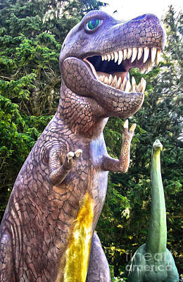 Photograph - Prehistoric Gardens - T Rex And Brontosaurus by Gregory Dyer