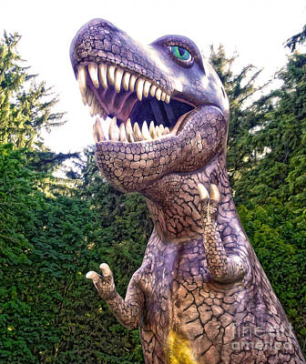 Photograph - Prehistoric Gardens - T-rex Attack by Gregory Dyer