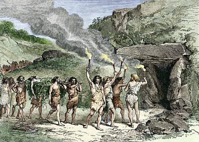 Prehistoric Human Funeral Art Print by Sheila Terry
