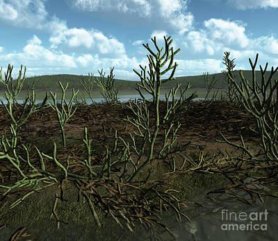 Vegetation Digital Art - Prehistoric Landscape Of Silu-devonian by Walter Myers
