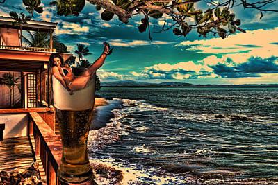 Puerto Rico Digital Art - Premium Lager On The Veranda by Frank Feliciano