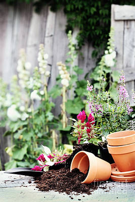 Preparing Flower Pots Art Print by Stephanie Frey