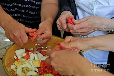 Preparing Salad Print by Sami Sarkis