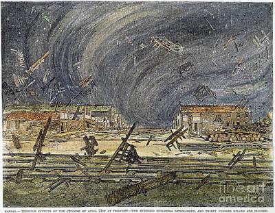 Prescott, Ks: Cyclone, 1887 Art Print