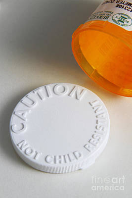 Photograph - Prescription Pill Bottle With Child by Photo Researchers, Inc.