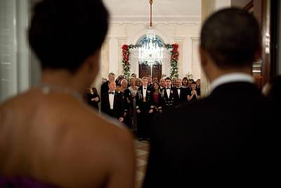 Barack And Michelle Obama Photograph - President And Michelle Obama Face White by Everett