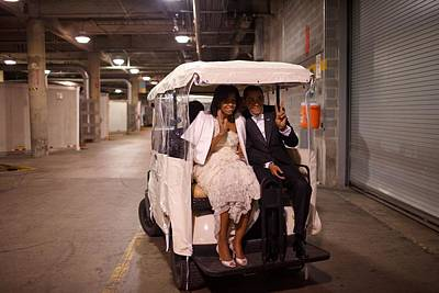 Michelle Obama Photograph - President And Michelle Obama Ride by Everett