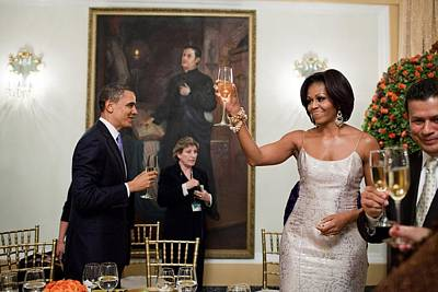 President And Michelle Obama Toast Art Print by Everett