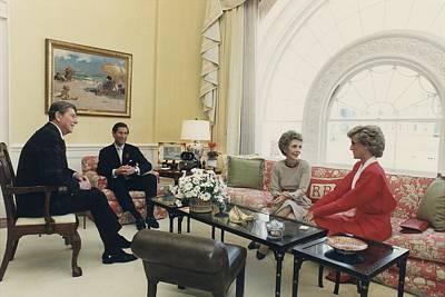 President And Nancy Reagan Having Tea Art Print by Everett