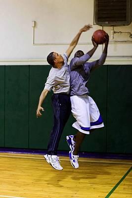 President Barack Obama Blocks A Shot Art Print